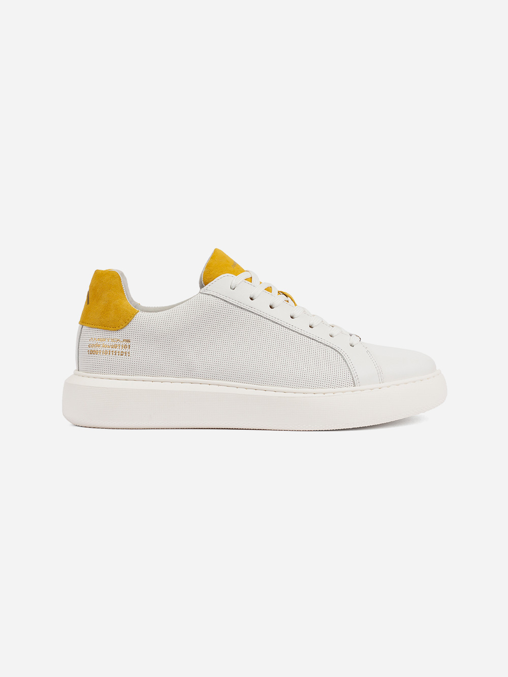 White Sneakers Yellow Detail