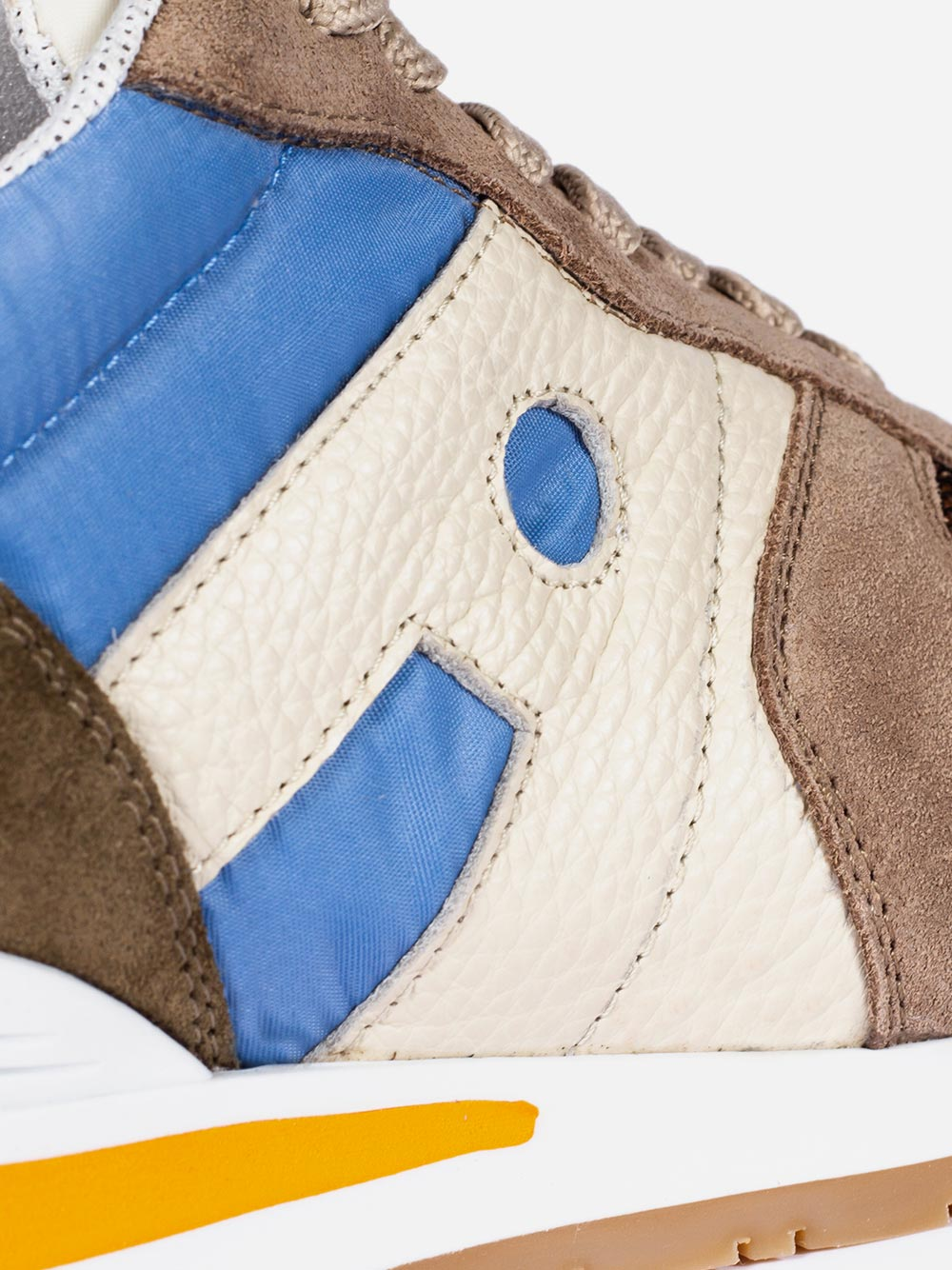 Bege and blue sneakers
