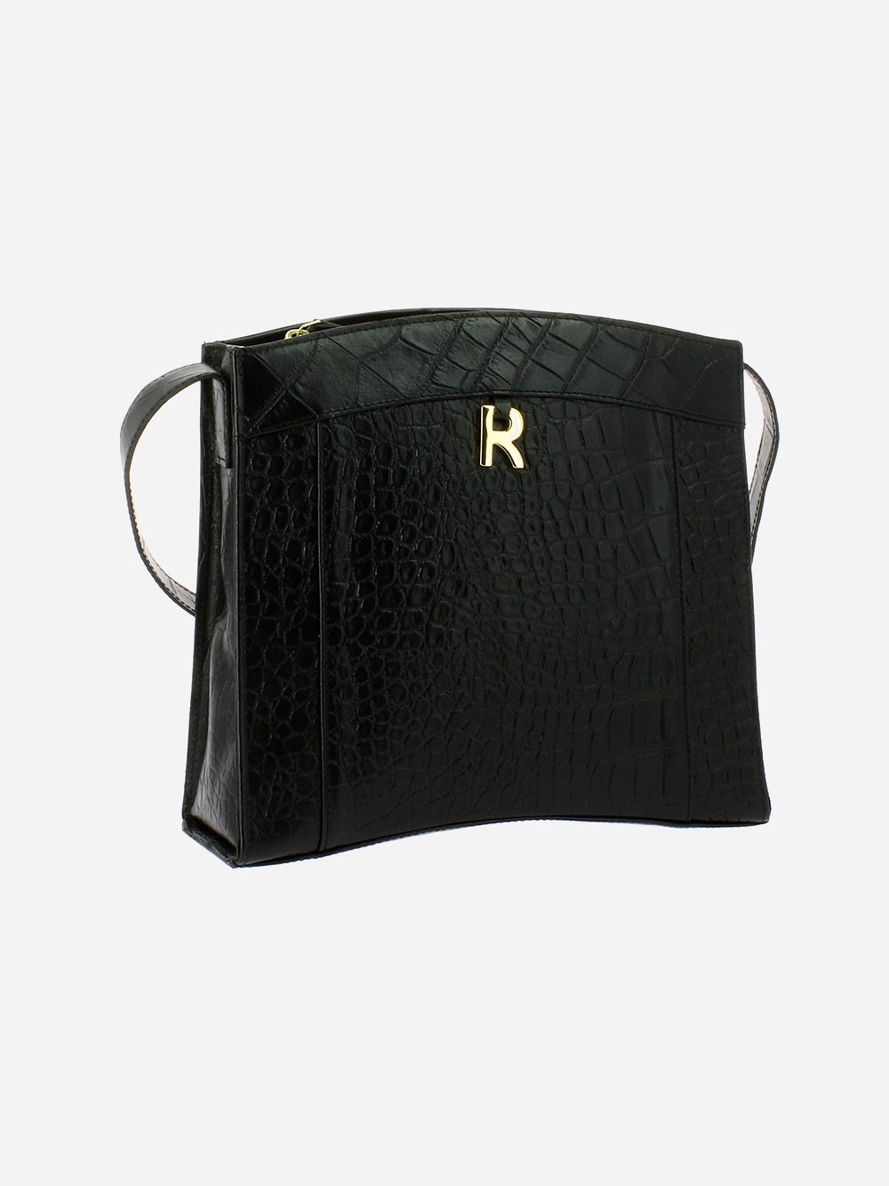 Croco Guilly Black Crossbody Bag