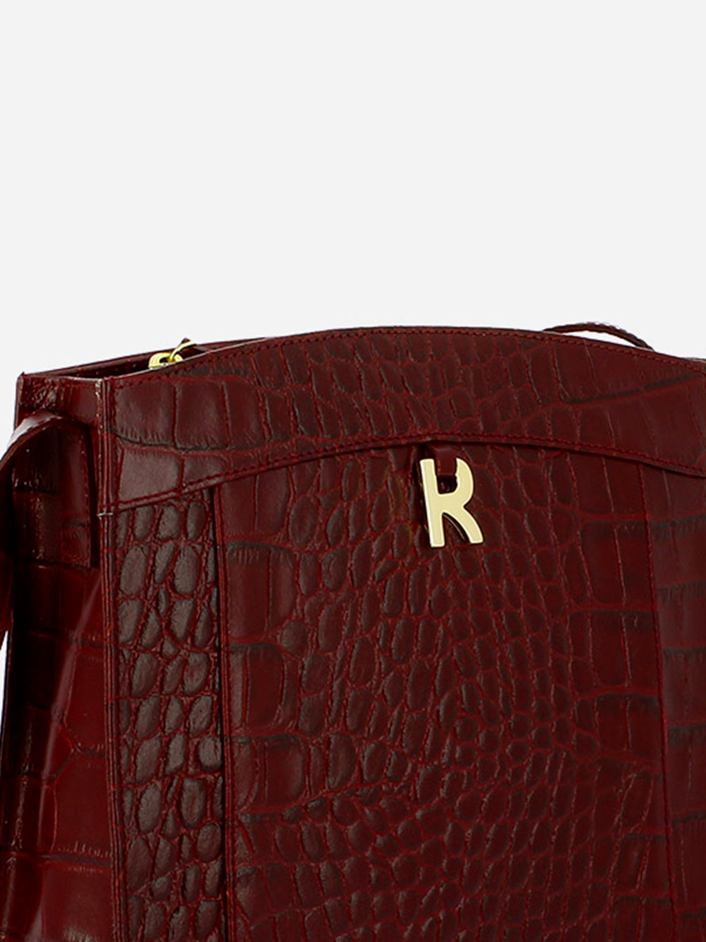 Croco Guilly Burgundy Crossbody Bag