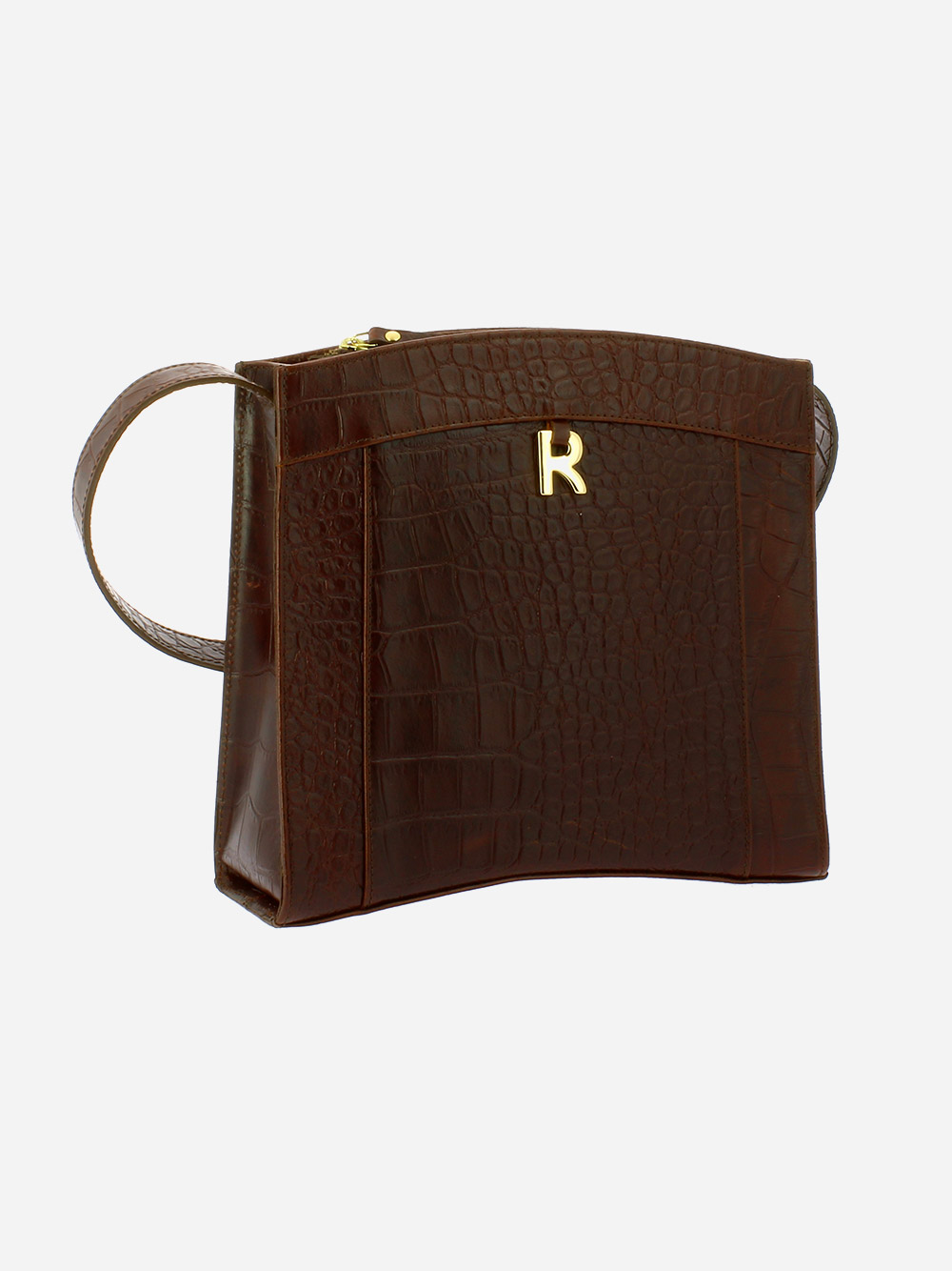 Croco Guilly Brown Crossbody Bag