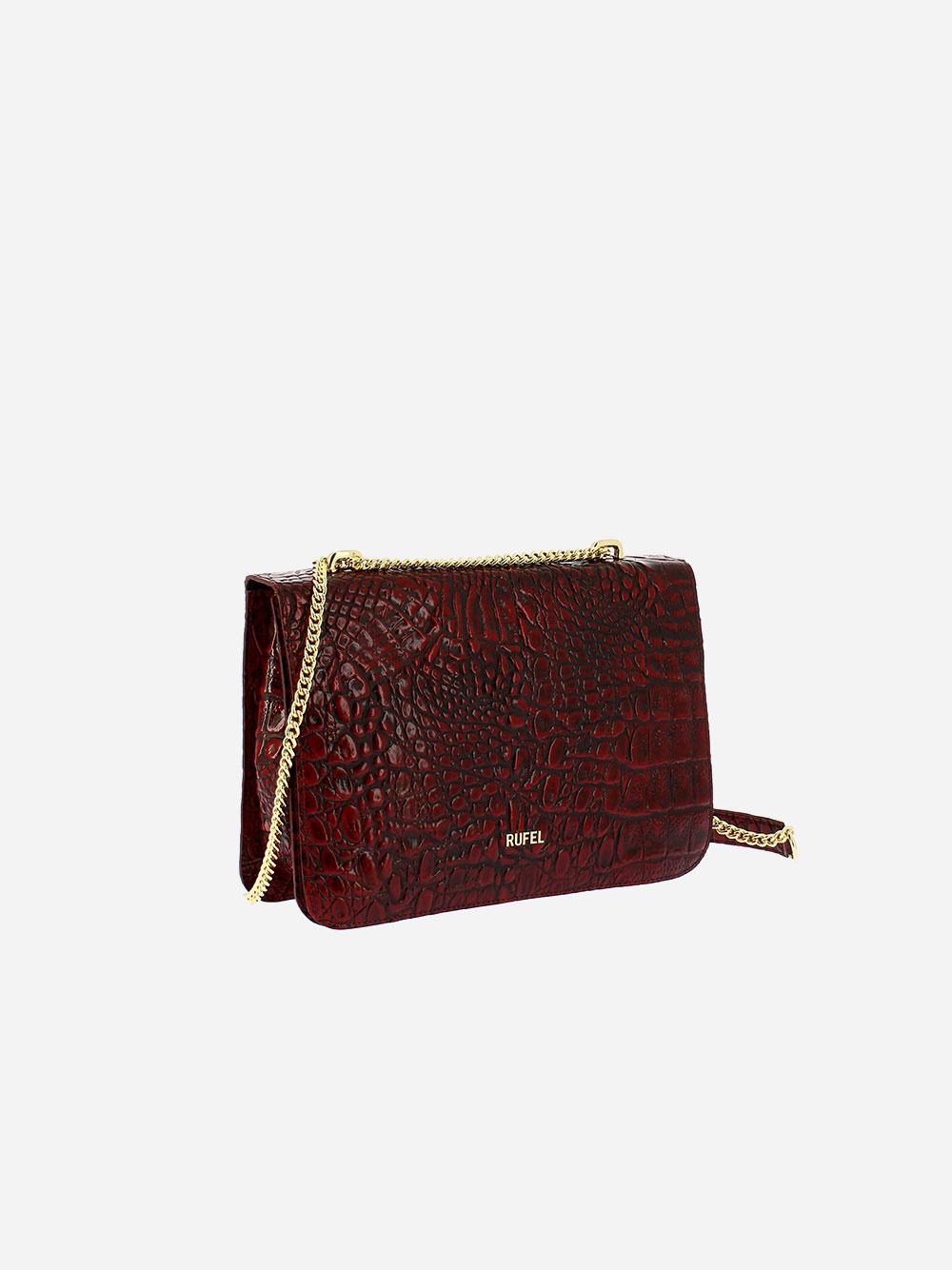 Croco Wild Burgundy Crossbody Bag