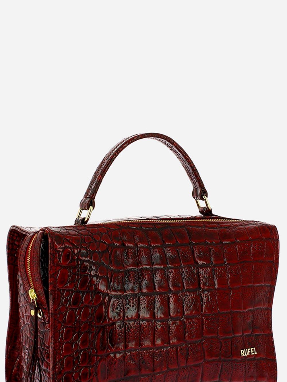 Croco Wild Burgundy Handbag