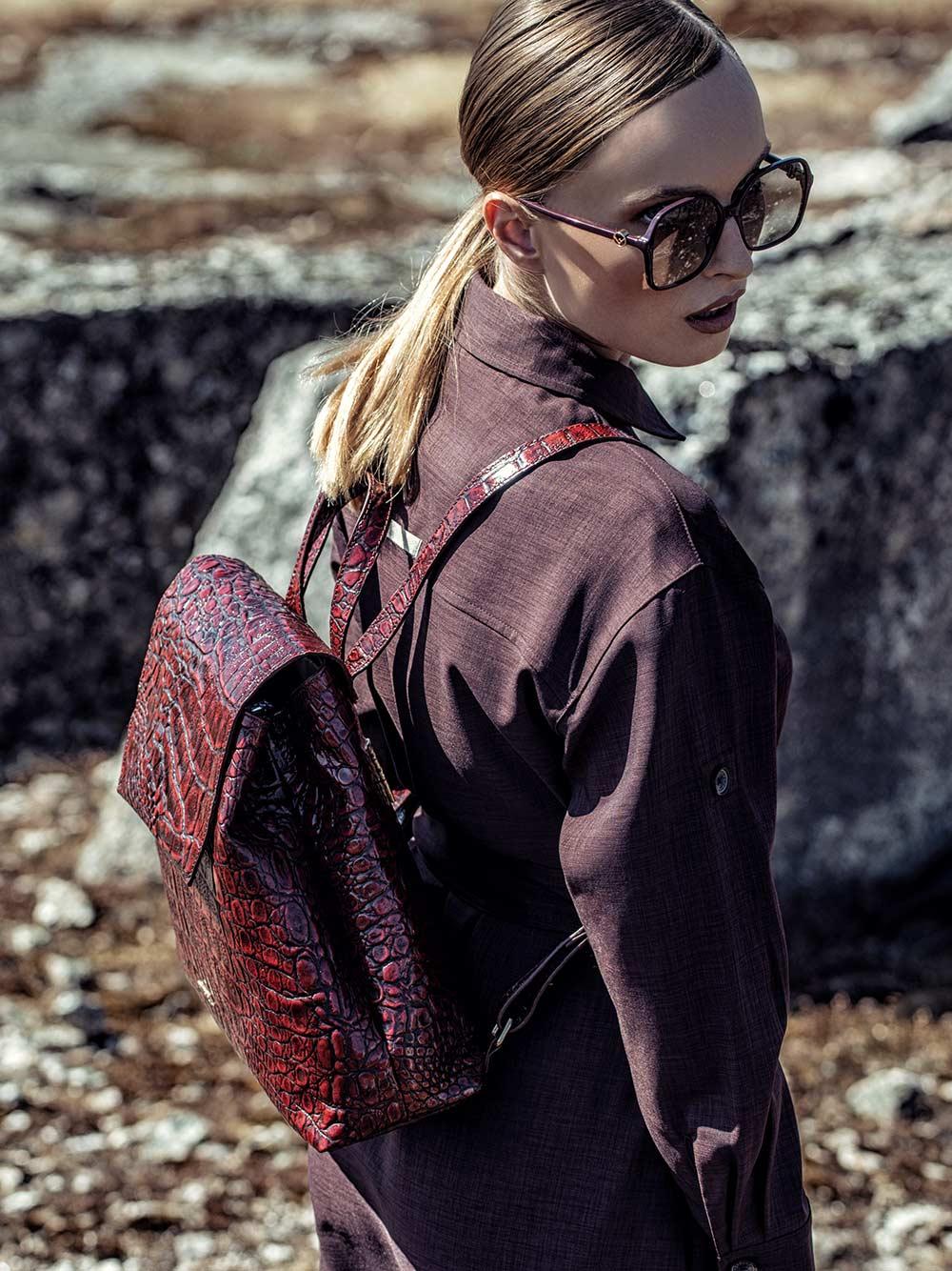 Croco Wild Burgundy Backpack