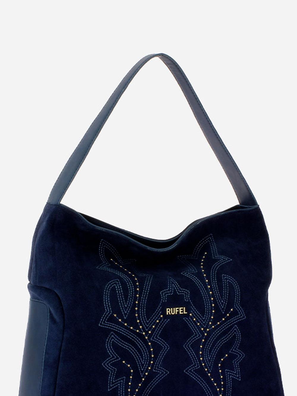 Suede Blue Shoulder Bag