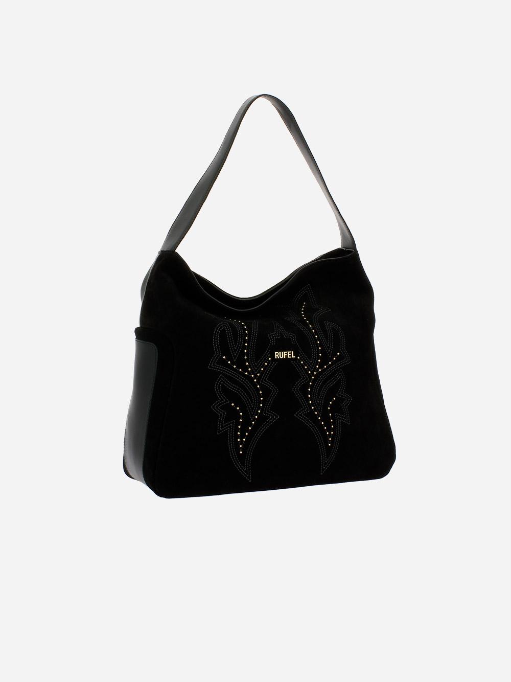 Suede Black Shoulder Bag