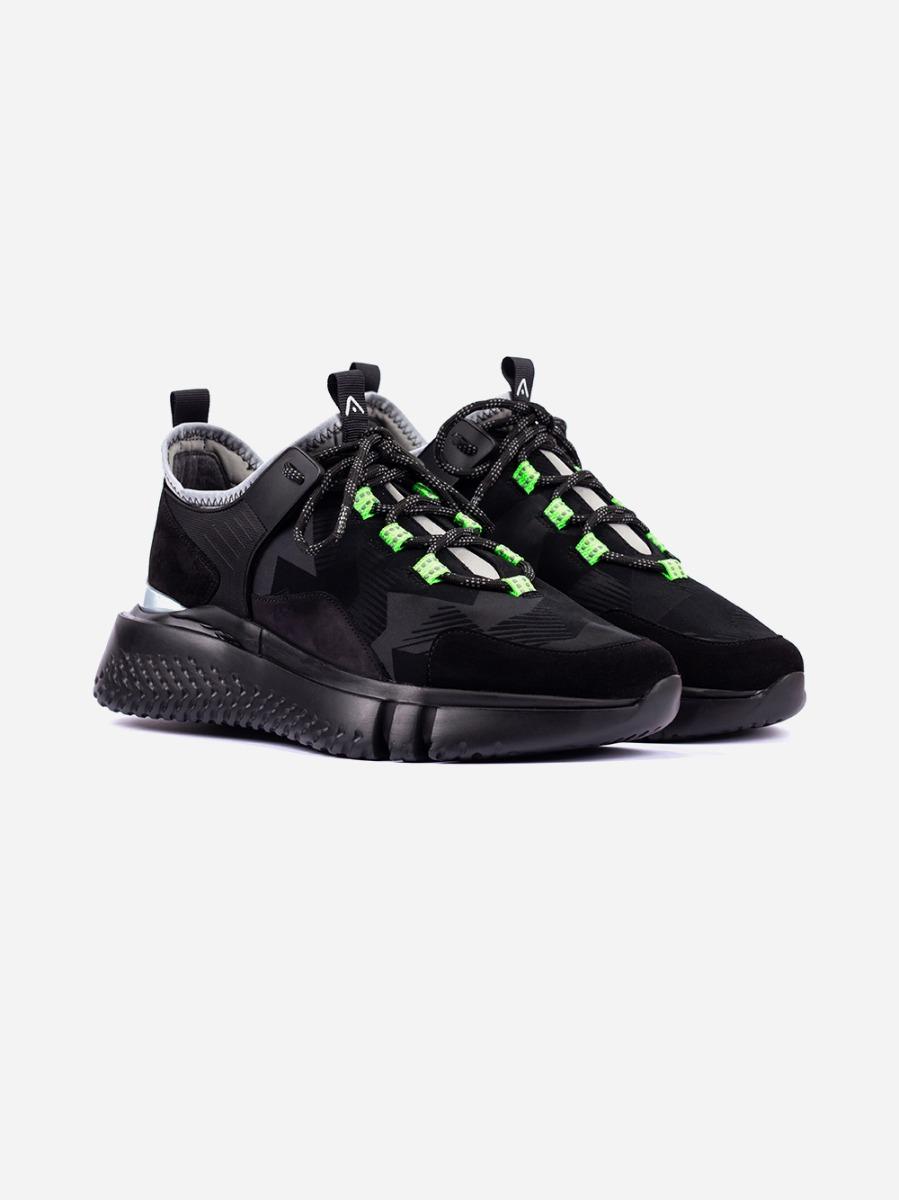 Black Chunky Sneakers Neon Detail