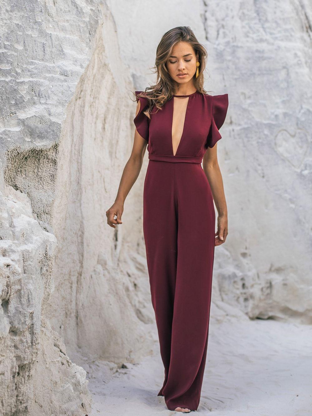Ruffled burgundy jumpsuit | Kaoâ