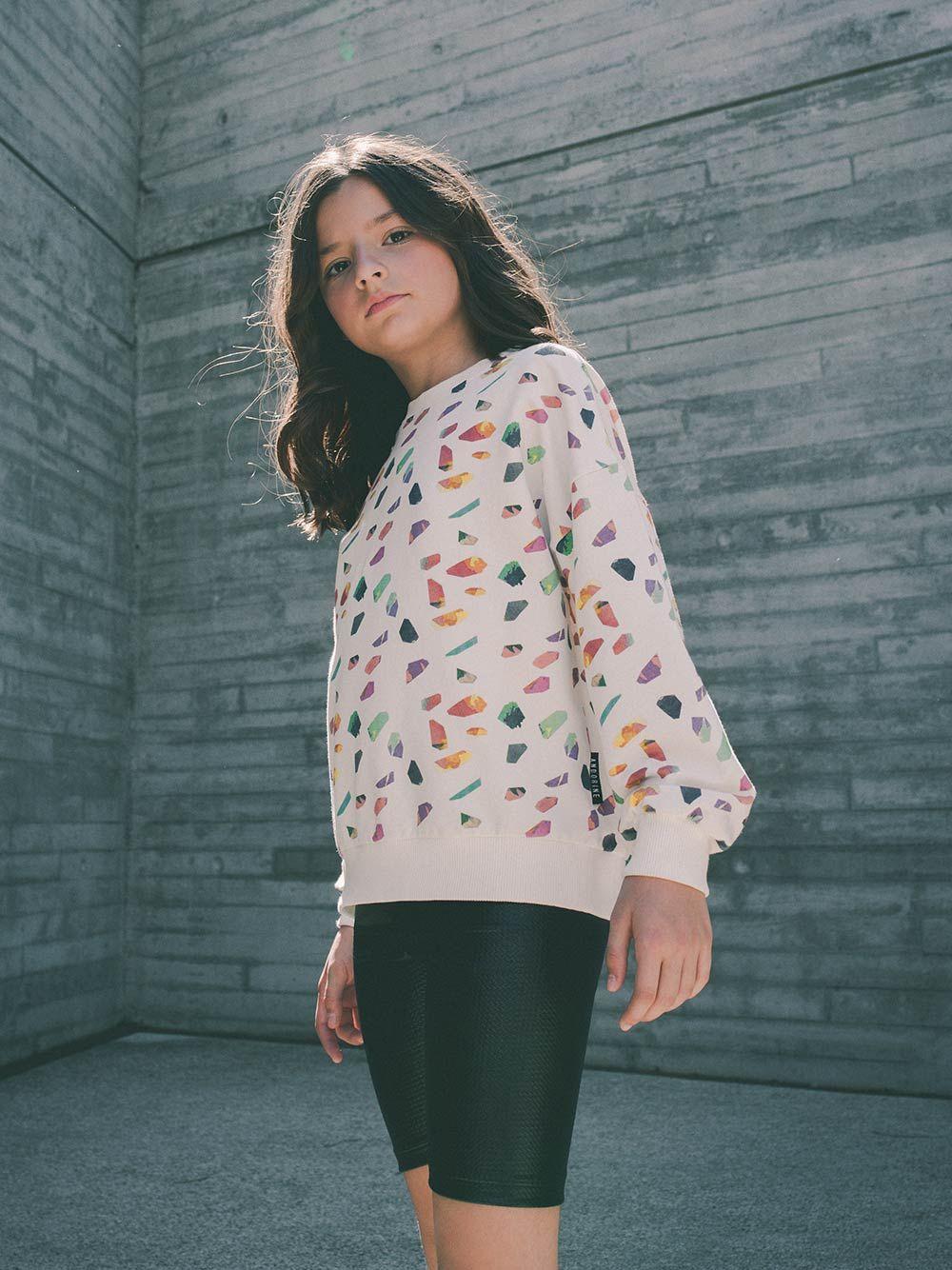 Sweatshirt Branca Estampado Colorido | Andorine