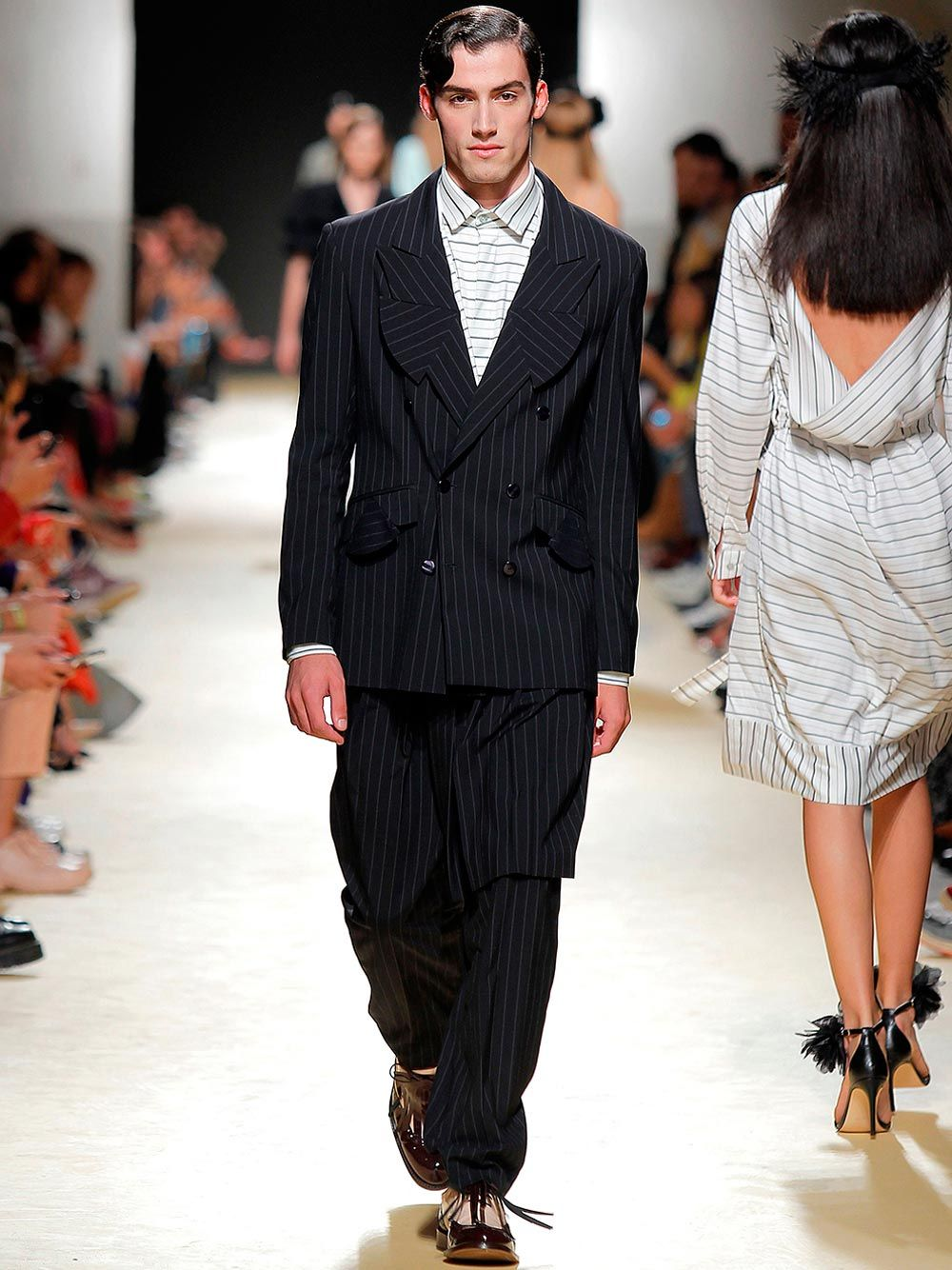 Navy Chalk-Striped Trousers | Luís Carvalho