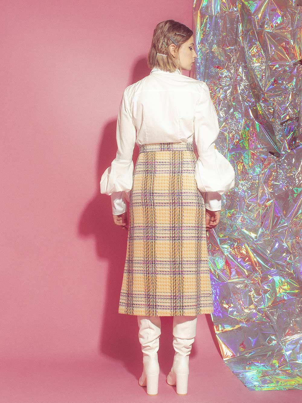 Saia Dawn High-Waisted Tweed| Carolina Machado