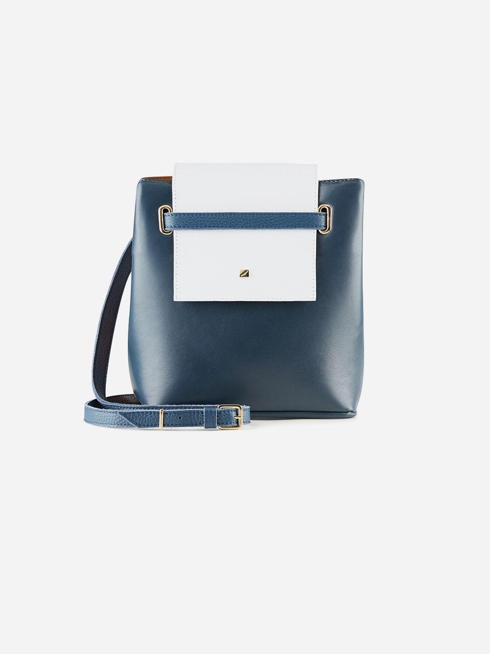 Navy Blue and Brown Mini Bucket Bag   Maria Maleta