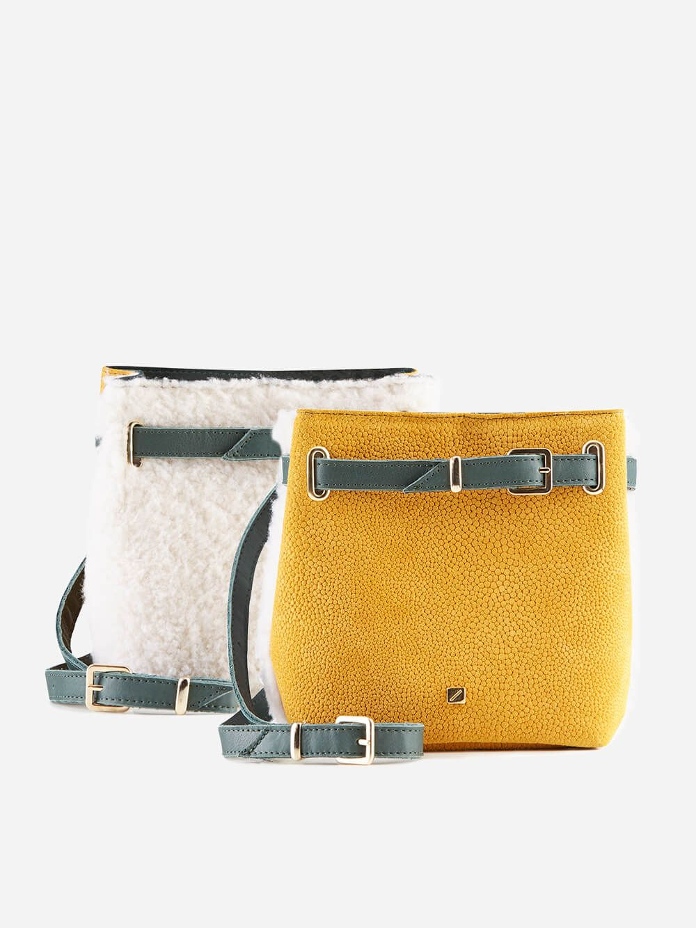 Multicolor Belt Bag White Shearling   Maria Maleta