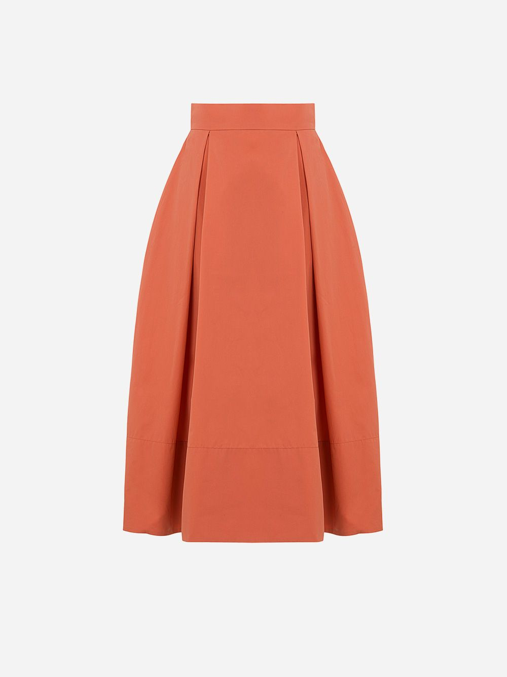 Orange A-line Pleated Skirt | A-line Clothing