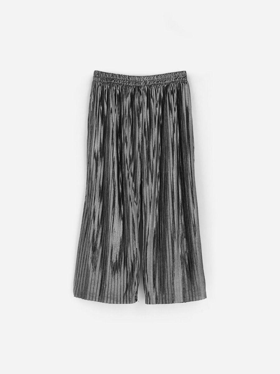 Calças Largas Plissadas Metalizada | Andorine