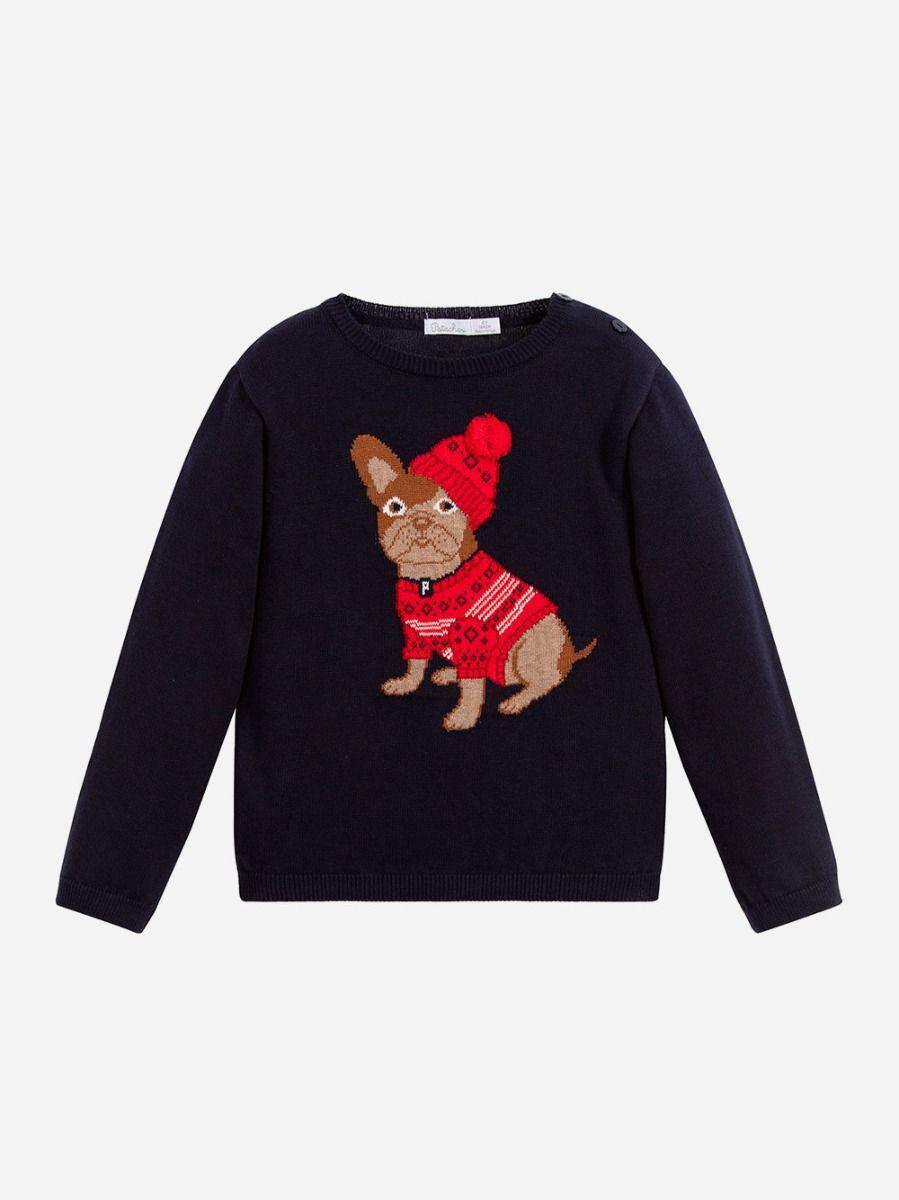 Sweatshirt Azul Marinho Bulldog  Patachou