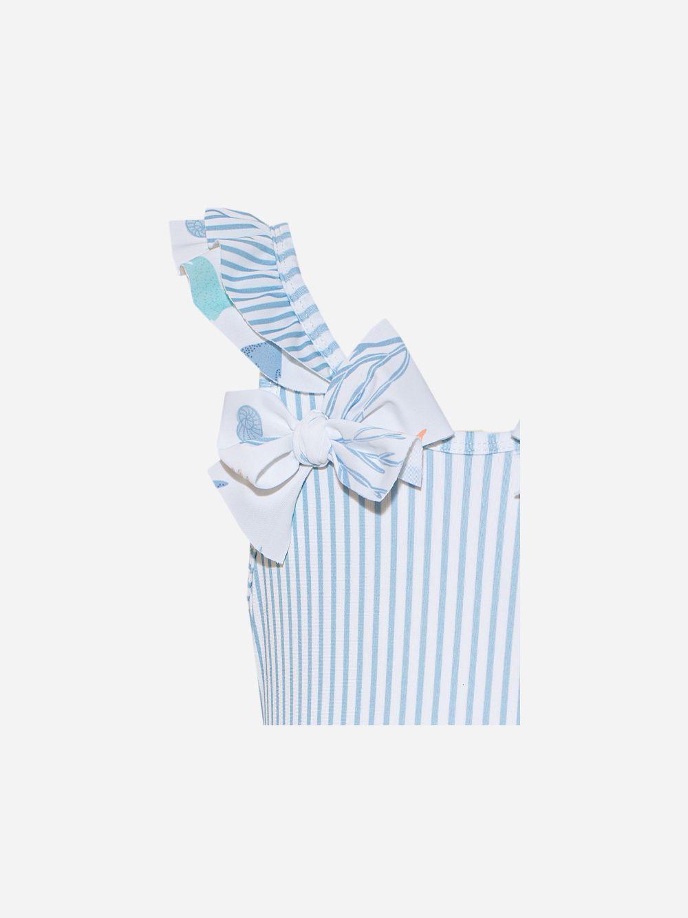 Fato de banho em lycra com riscas brancas e azuis | Patachou