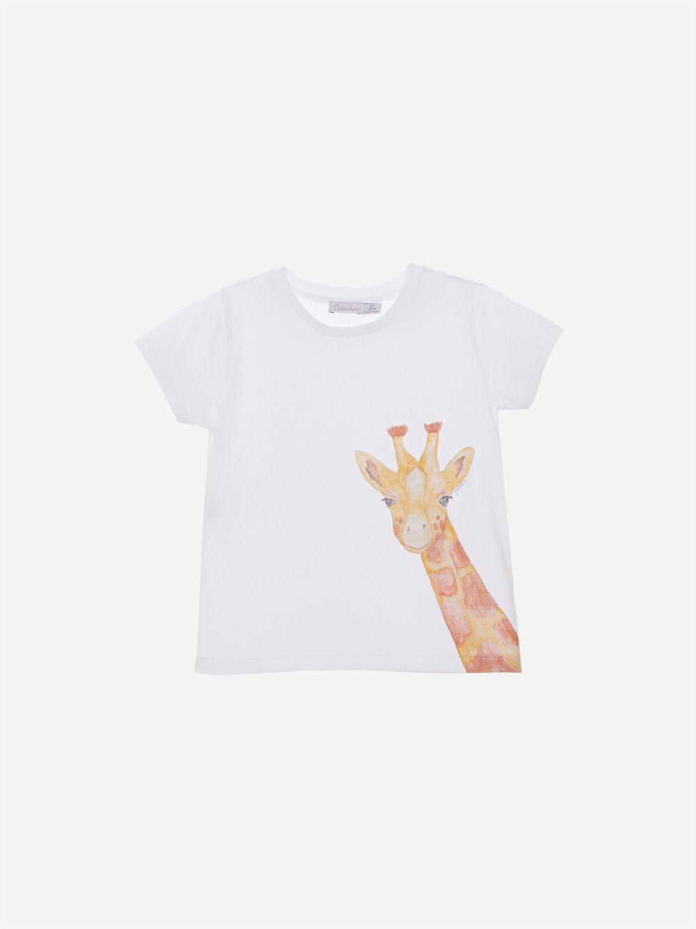 T-shirt em Jersey Branco Girafa