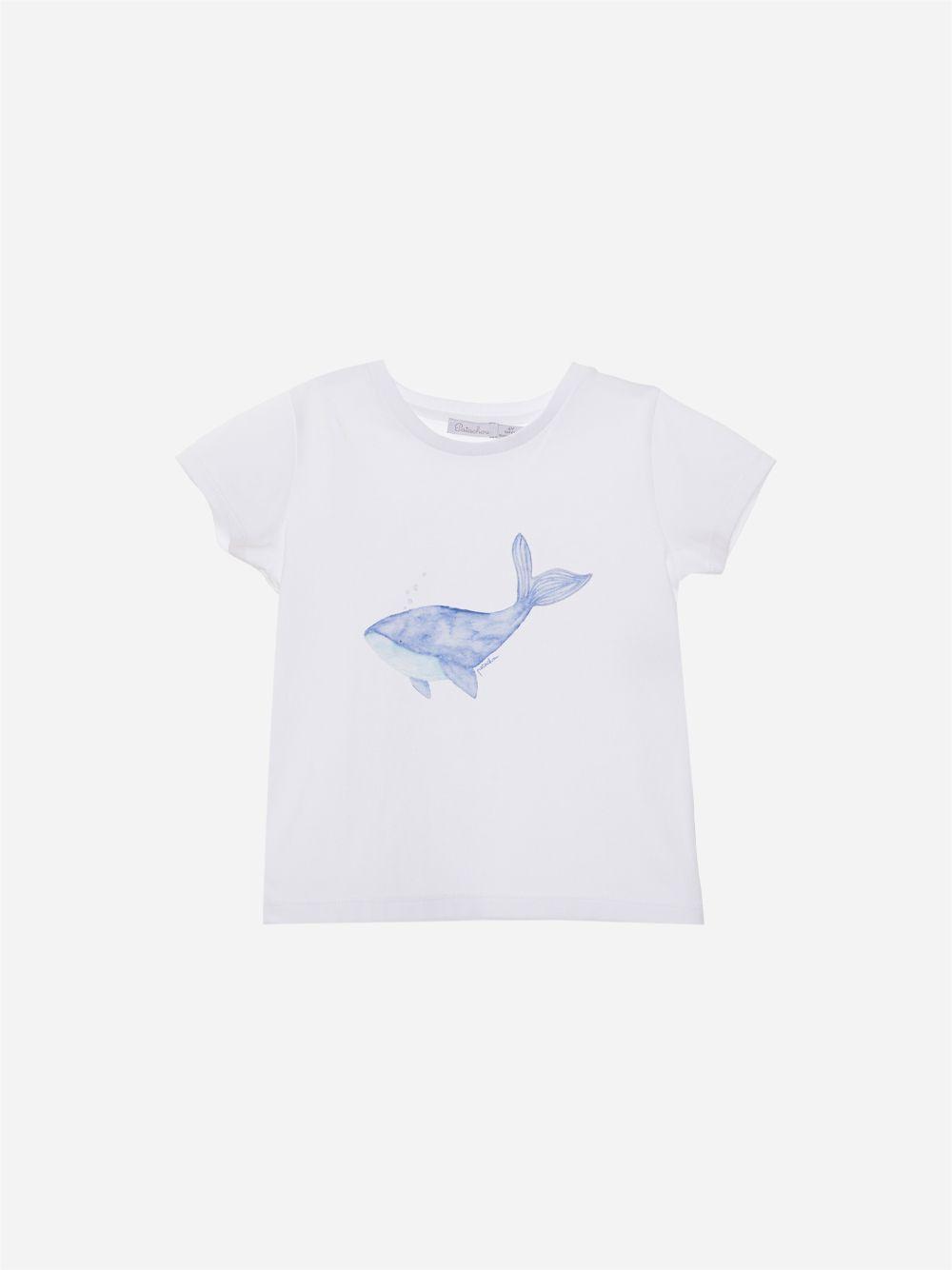 T-shirt em Jersey Branco Peixe