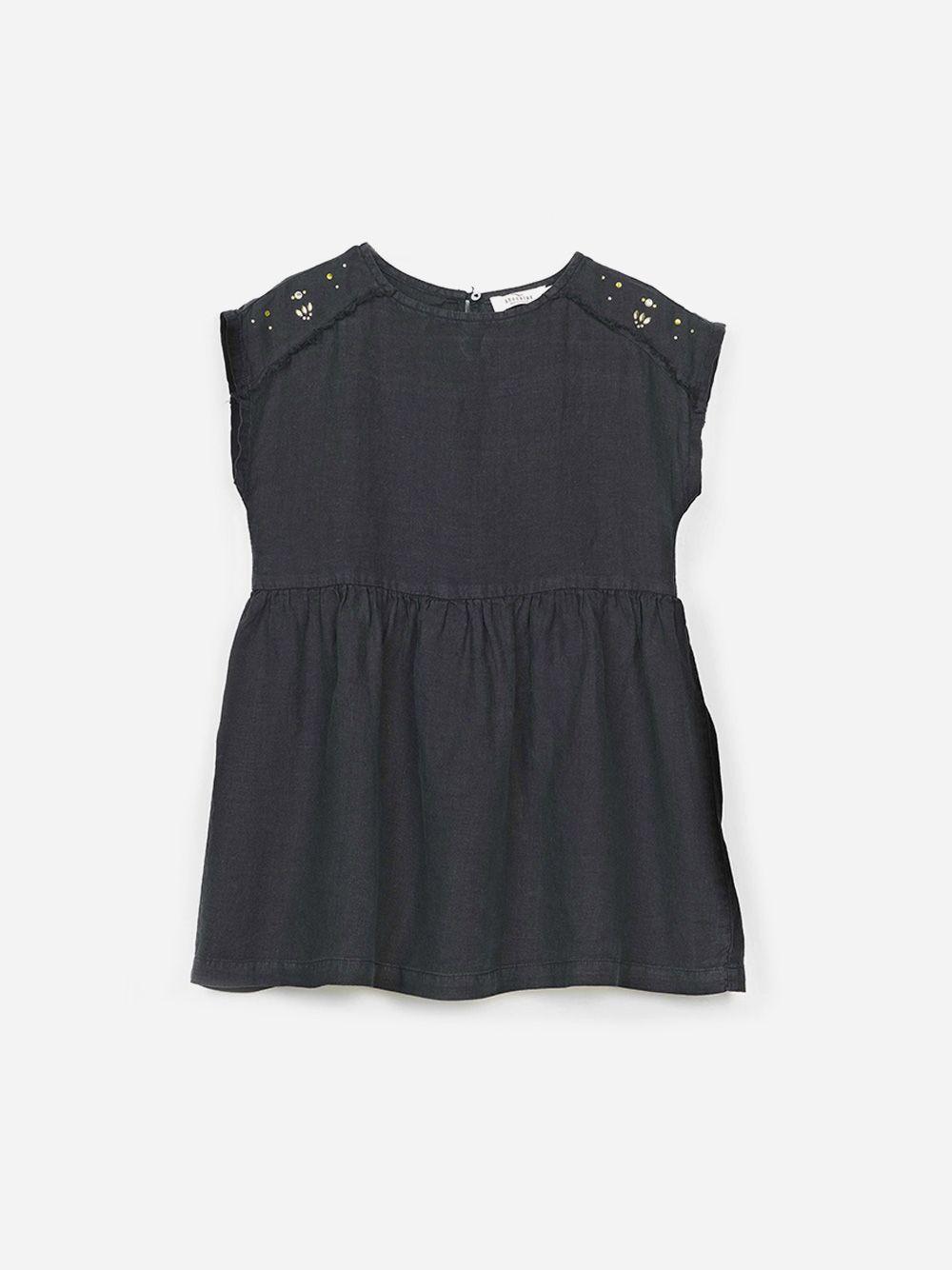 Vestido Preto de Linho Studs | Andorine
