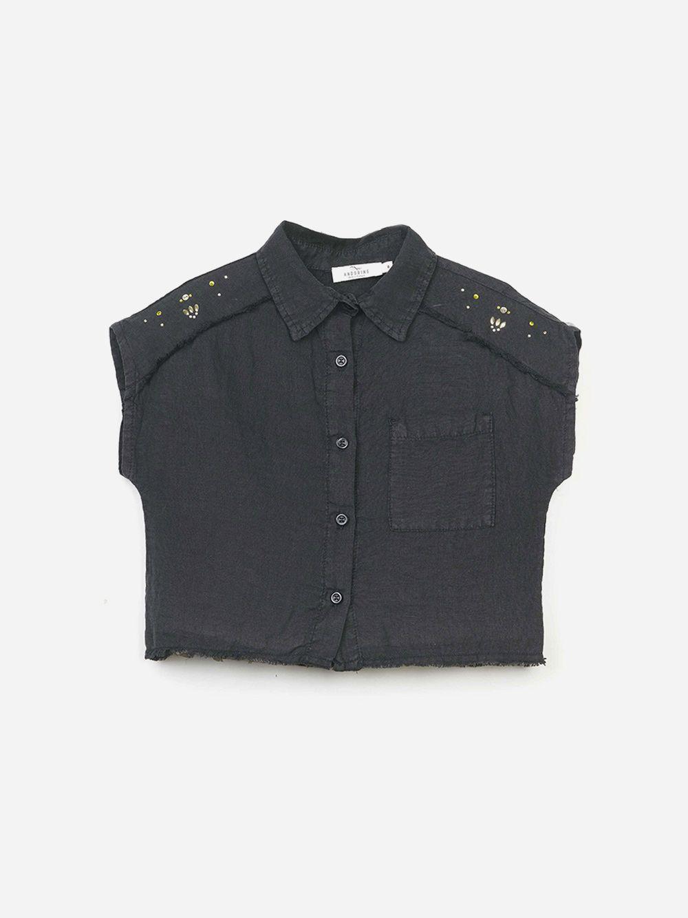 Camisa Preta de Linho Studs | Andorine