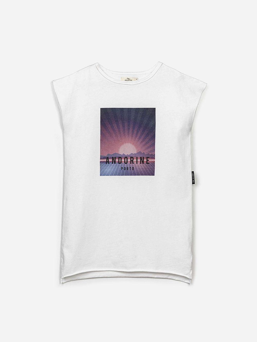Vestido T-shirt Branco Estampado | Andorine