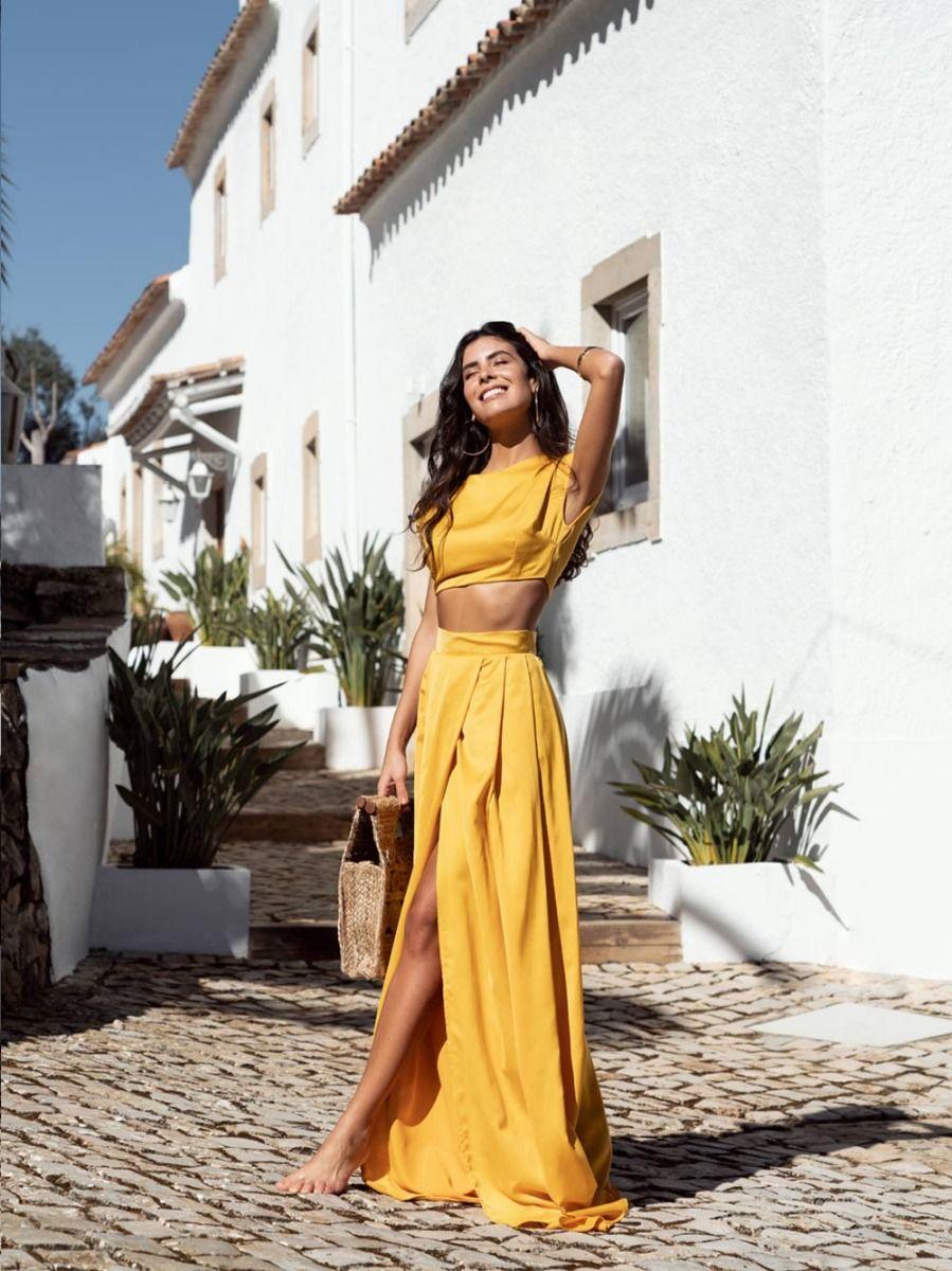 Saia Longa Amarela Plissada | Mauî