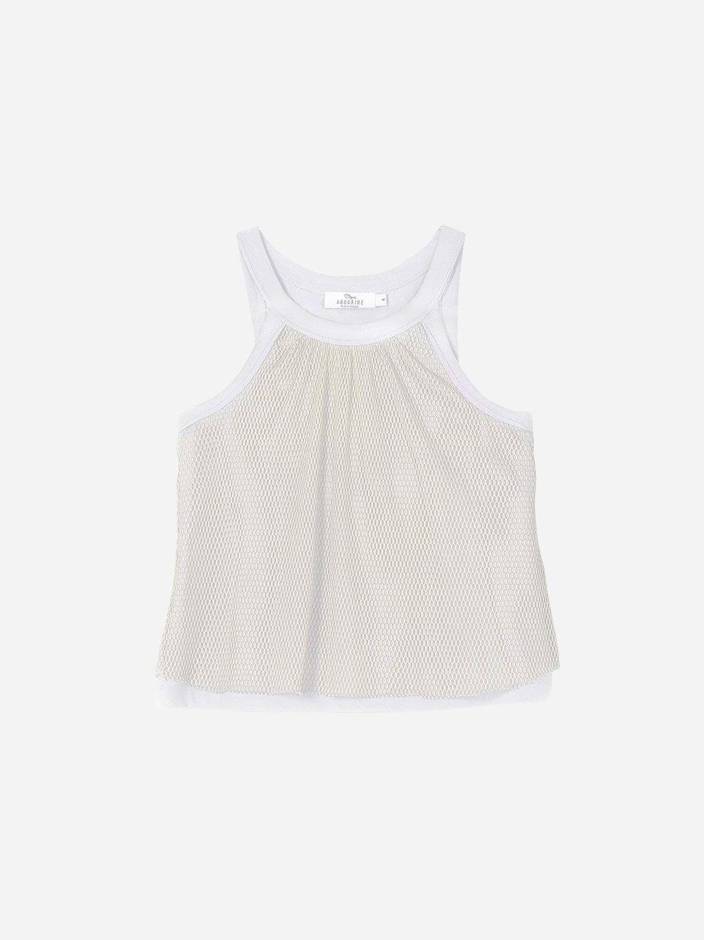 White Sleeveless Mesh Top | Andorine