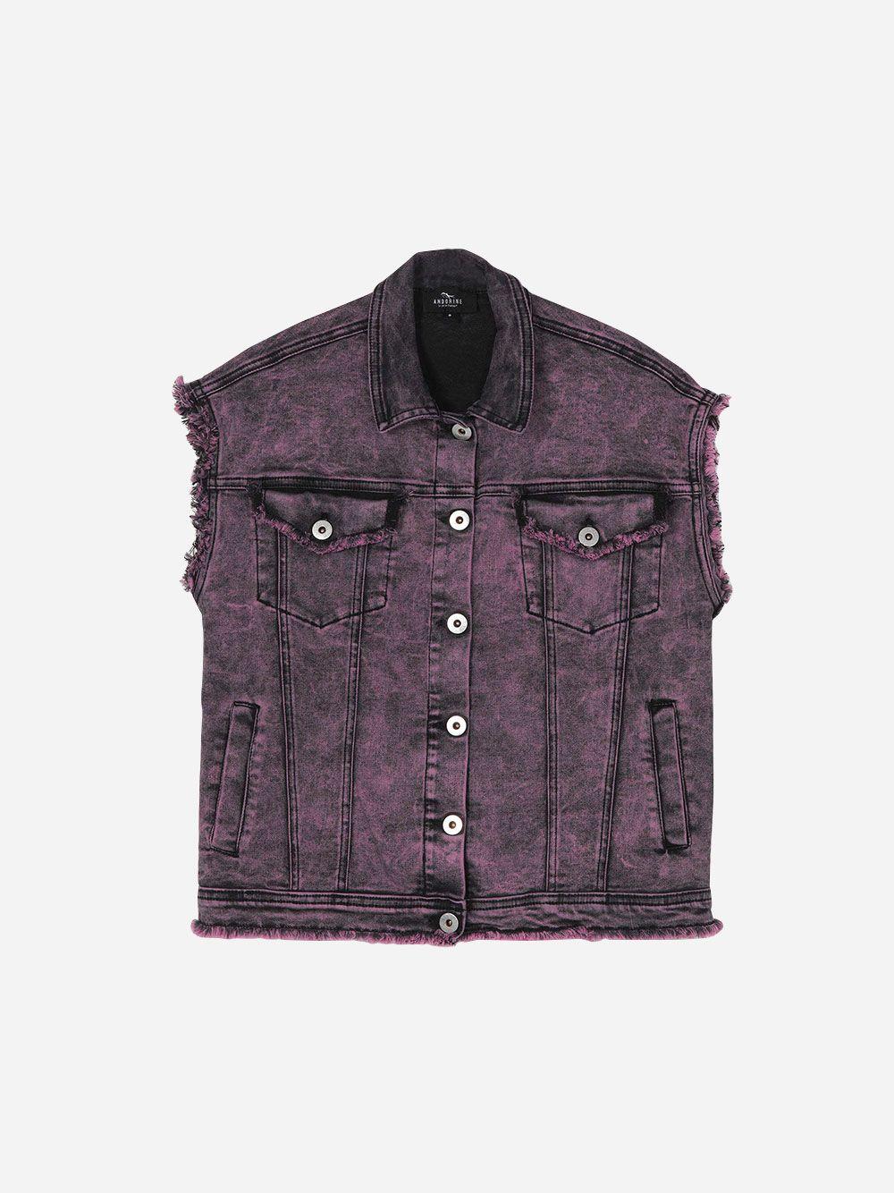 Oversized Purple Denim Vest | Andorine