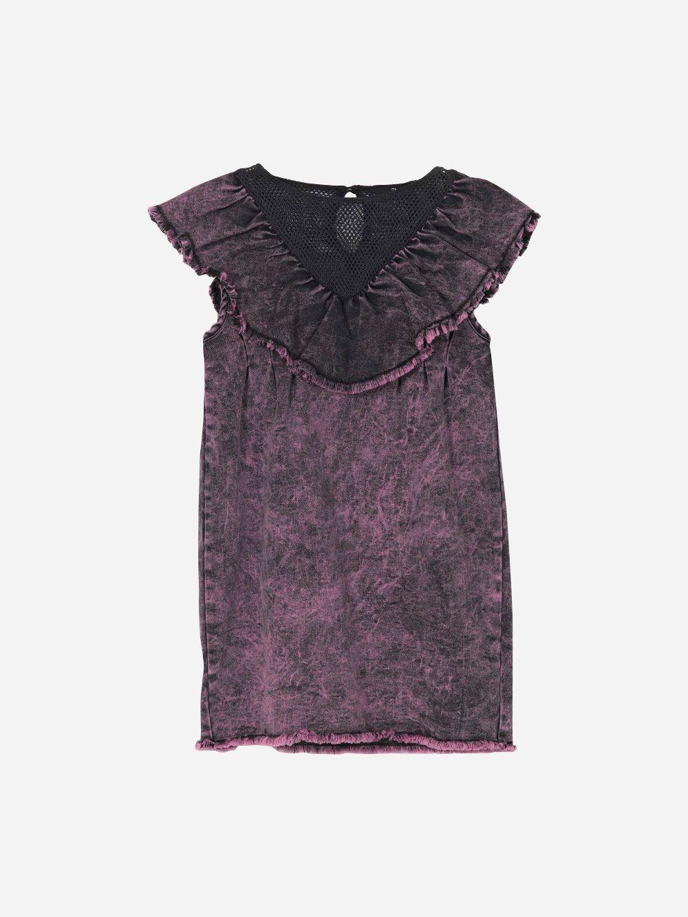 Ruffled Purple Denim Dress   Andorine
