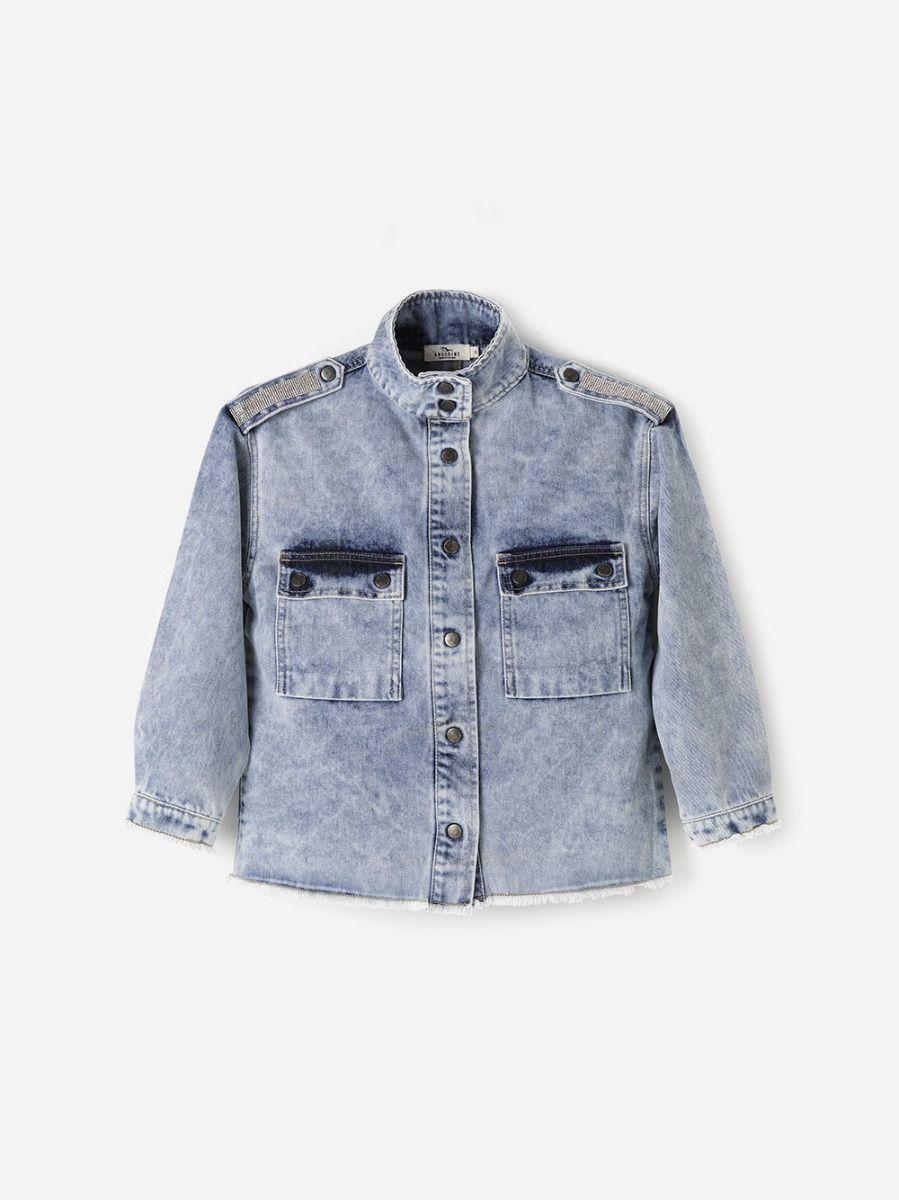 Embellished Blue Denim Shirt   Andorine