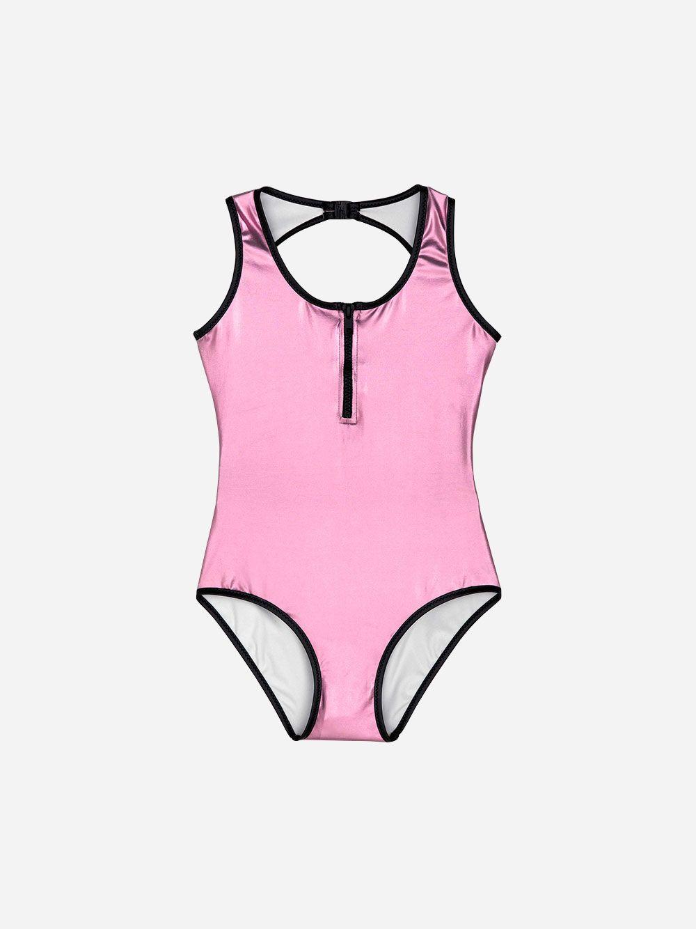 Zipped Pink Metallic Swimsuit | Andorine