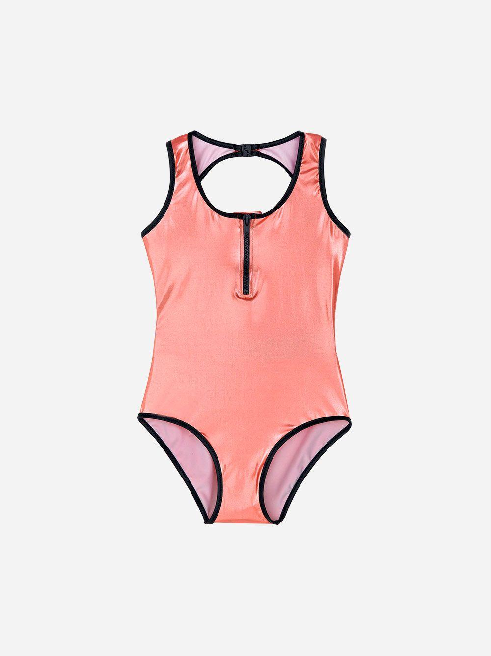 Salmon Metallic Bodysuit | Andorine