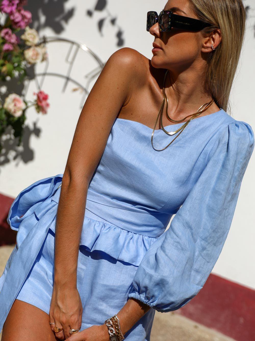 Top Azul Linho Assimétrico | Kaoâ