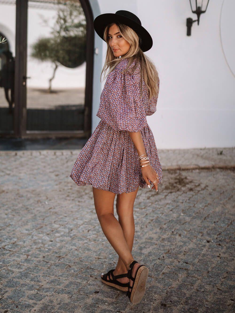 Vestido Estampado Popeline | Kaoâ