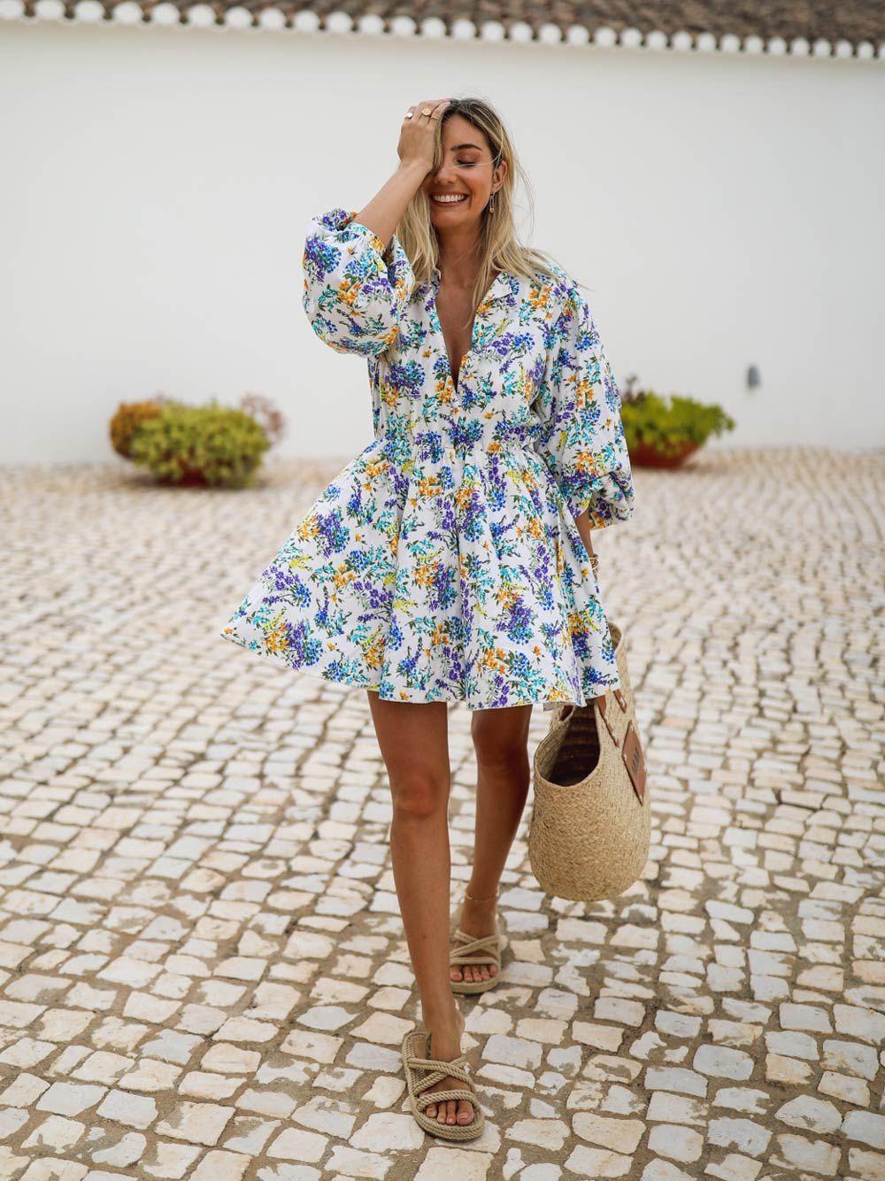 Vestido Floral em Linho | Kaoâ