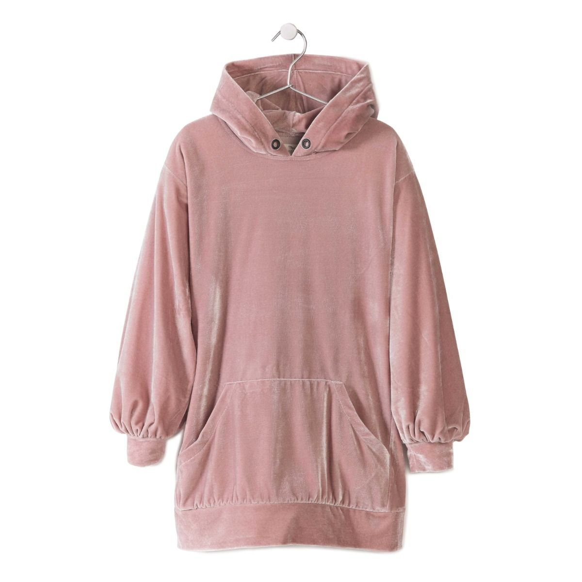 Blush pink velvet hooded dress from Andorine featuring a hood, long sleeves, a kangaroo pocket, a sweater silhouette and a straight hem.