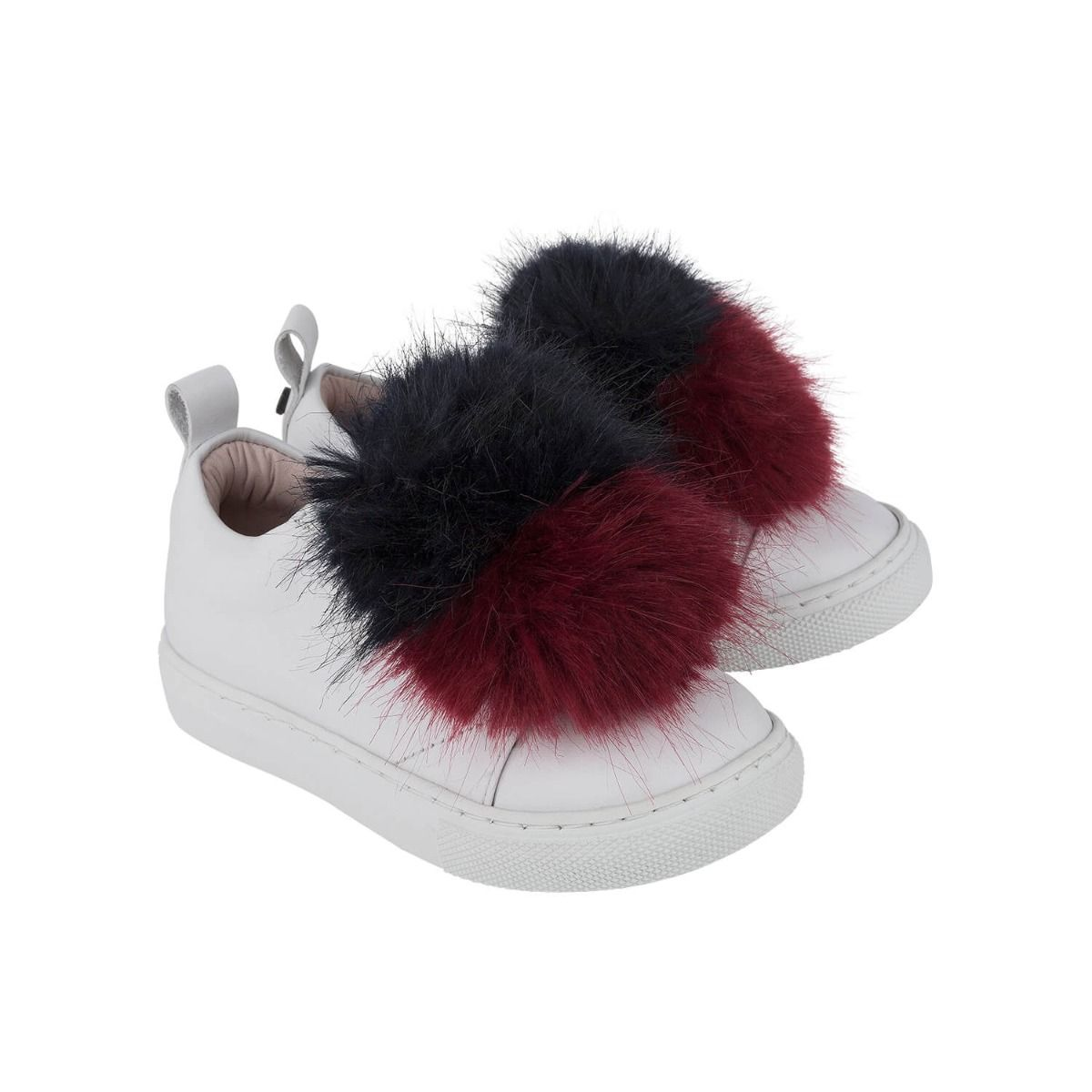 Baby and girl's sneakers in white leather with dark red and black faux fur applique