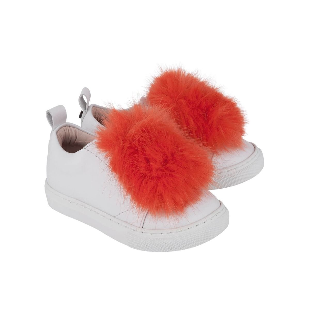 Baby and girl's sneakers in white leather with bright orange fur applique