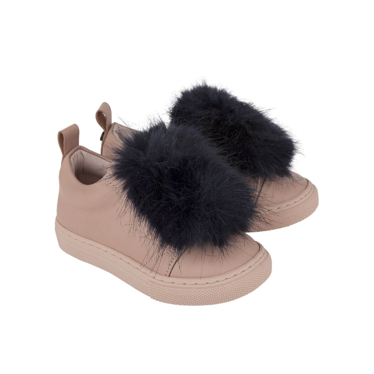 Baby and girl's sneakers in pale pink leather with dark blue fur applique