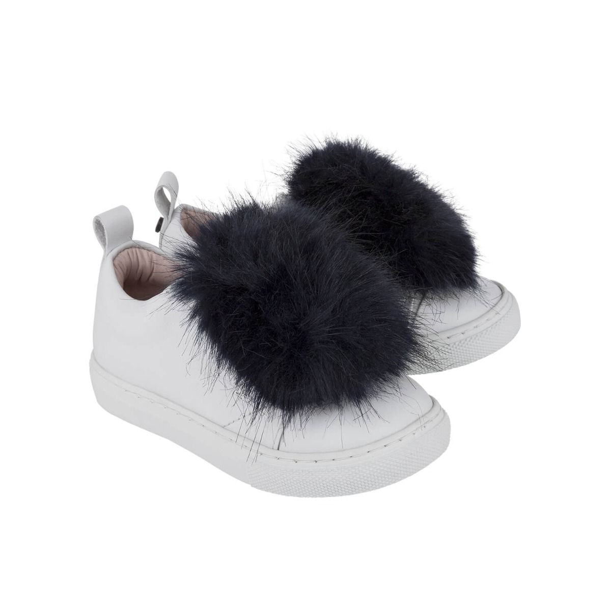 Baby and girl's sneakers in white leather with dark blue fur applique