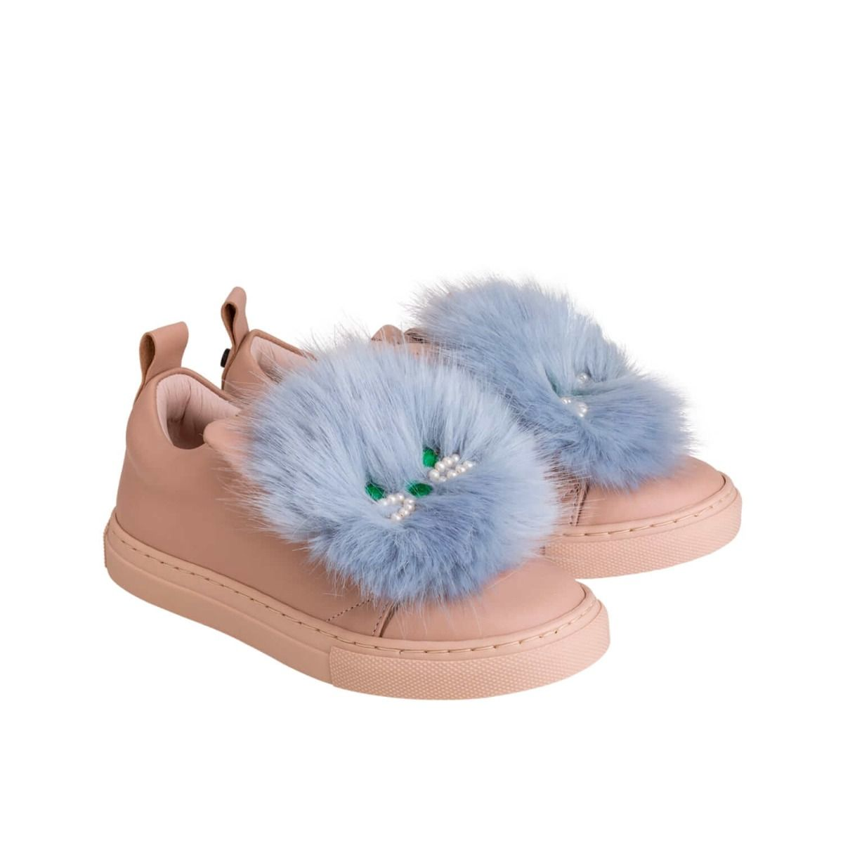 Baby and girl's sneakers in pale pink leather with light blue fur applique and cat face applique