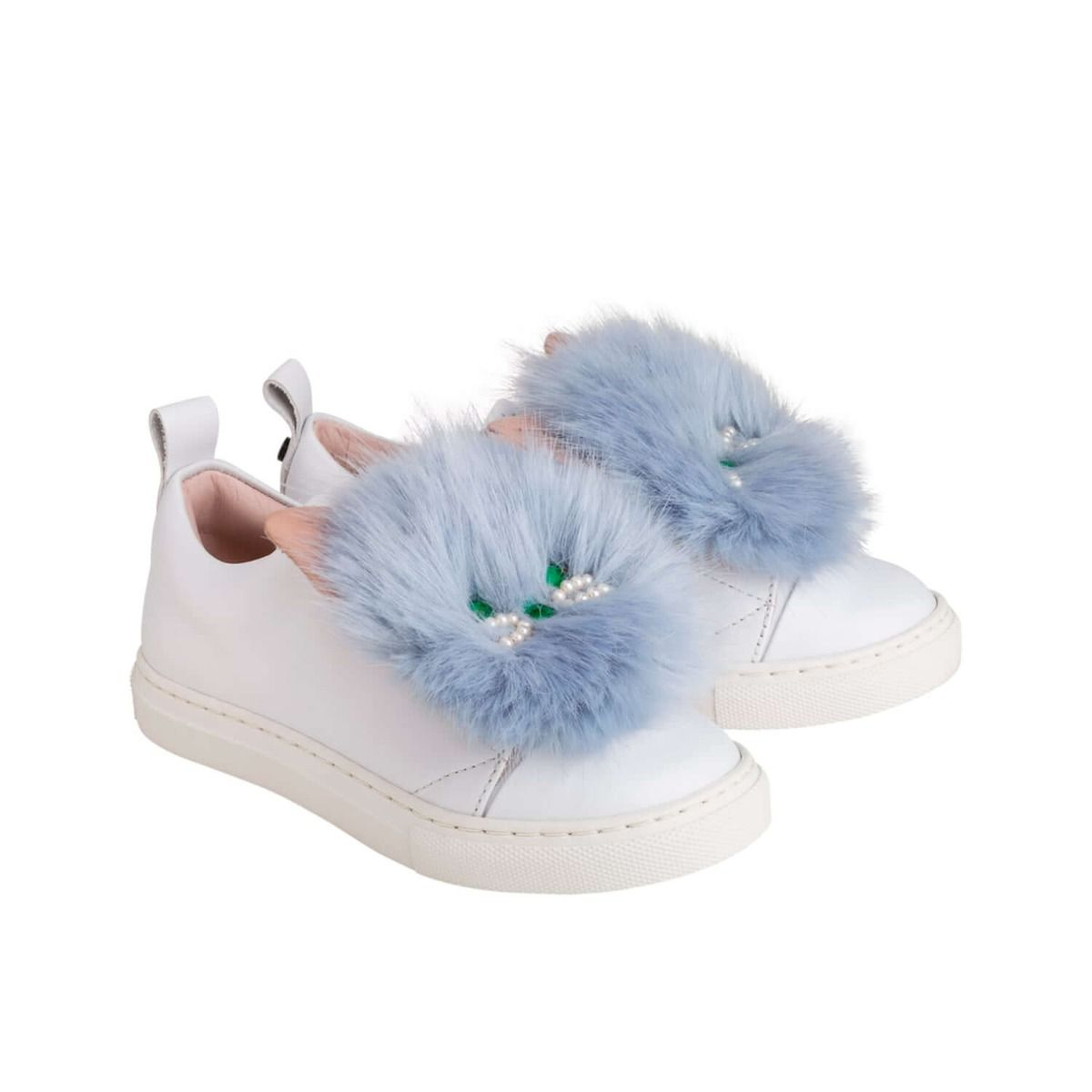Baby and girl's sneakers in white leather with light blue fur applique and cat face applique