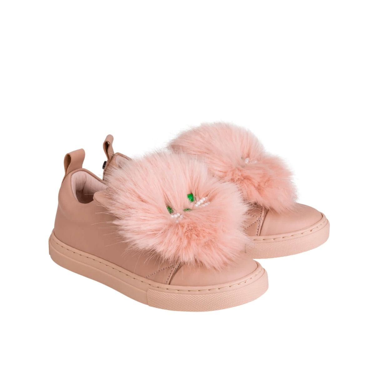 Baby and girl's sneakers in pale pink leather with light pink fur applique and cat face applique
