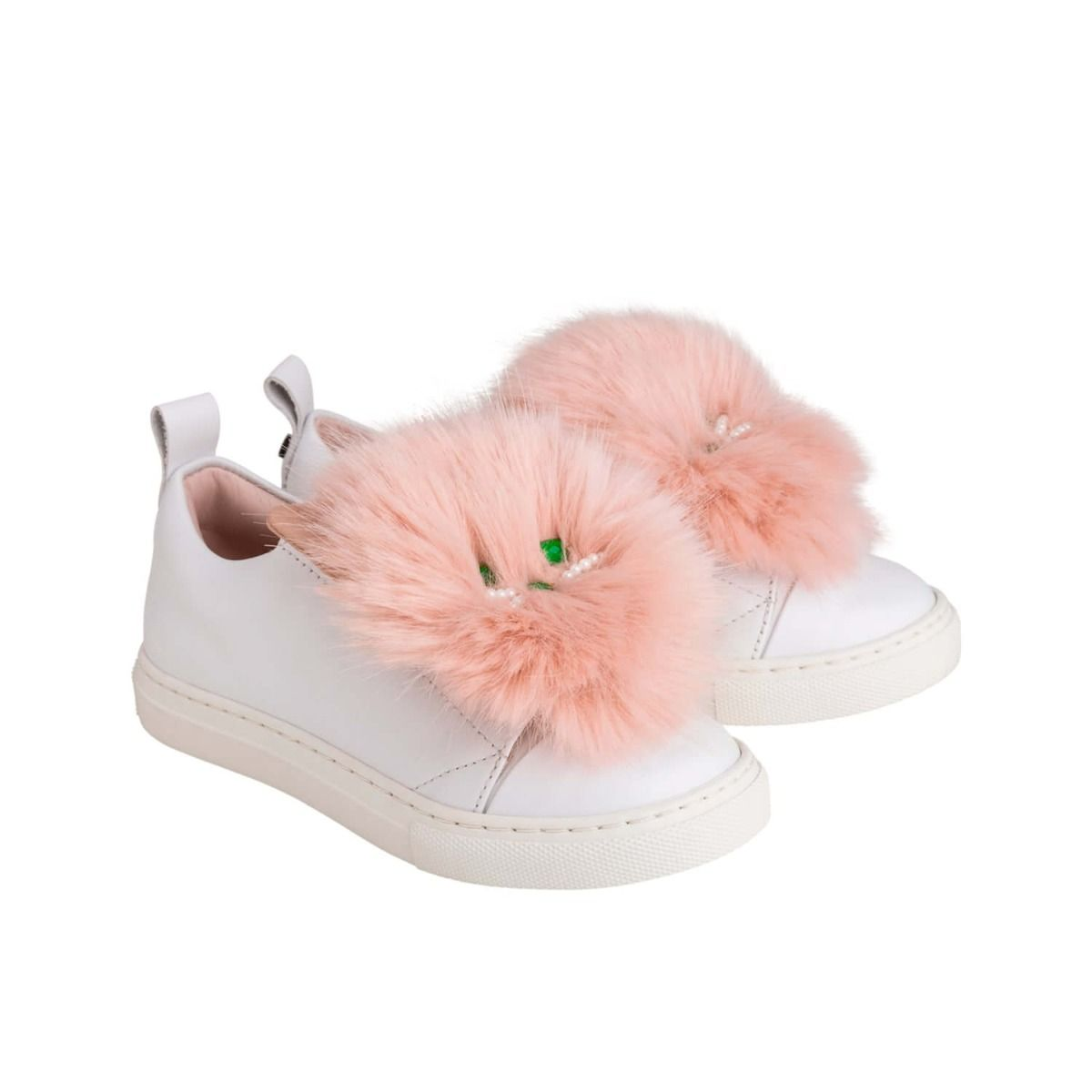 Baby and girl's sneakers in white leather with light pink fur applique and cat face applique.