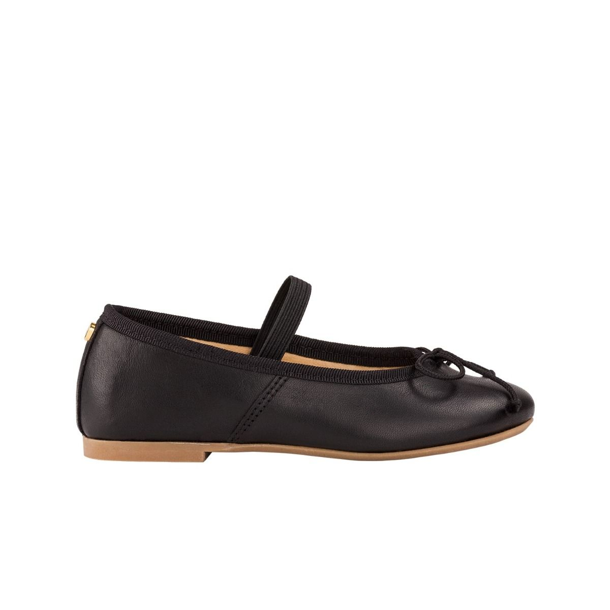 Toddler ballet flats in black leather with bow detail in cord.