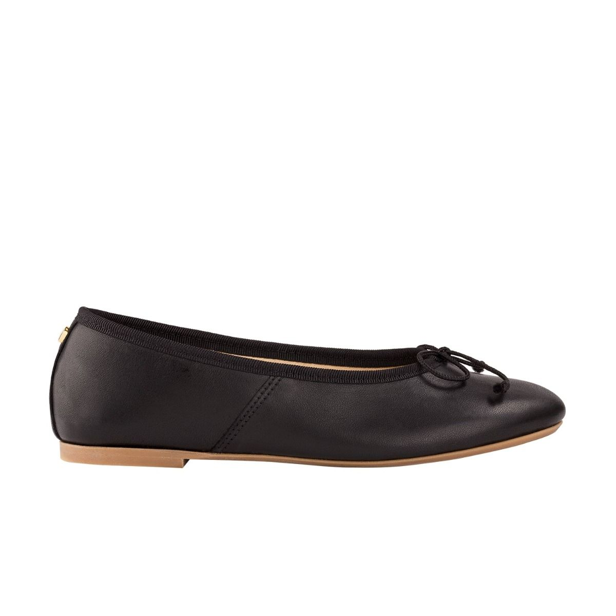 Children's ballet flats in black leather with bow detail in cord.