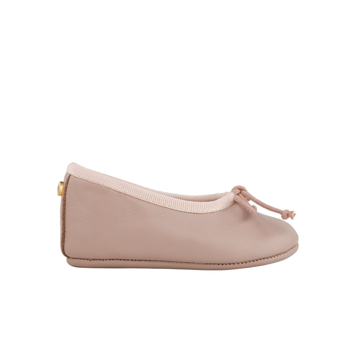 Baby ballet flats in pale pink leather with bow detail in cord.
