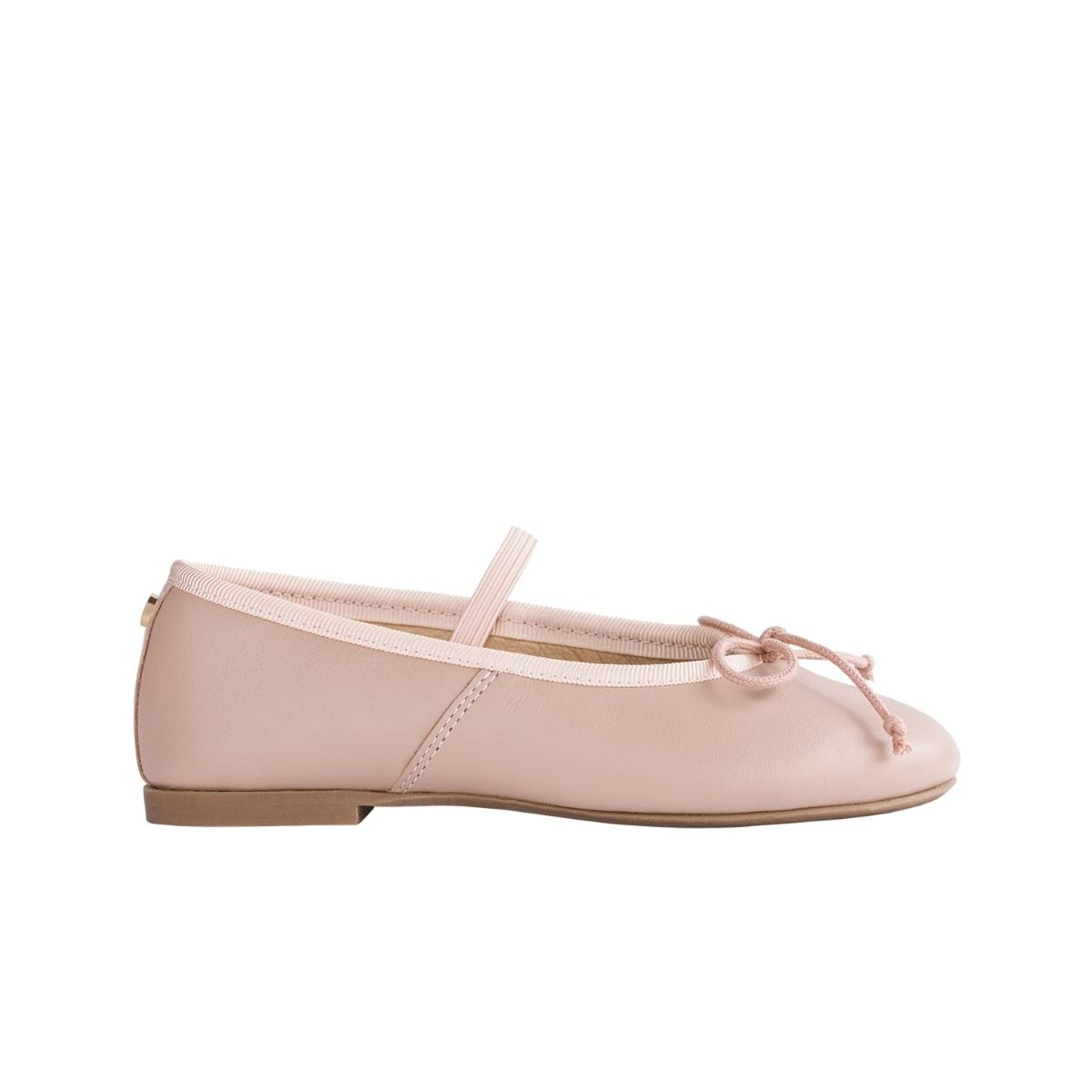 Toddler ballet flats in pale pink leather with bow detail in cord.