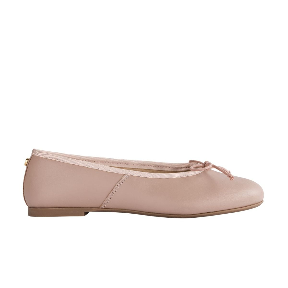 Children's ballet flats in pale pink leather with bow detail in cord.